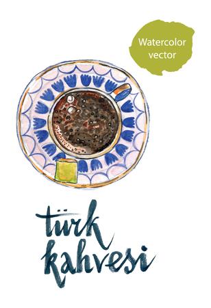 middle eastern food: Turk kahvesi means Turkish coffee, hand drawn, watercolor  Illustration