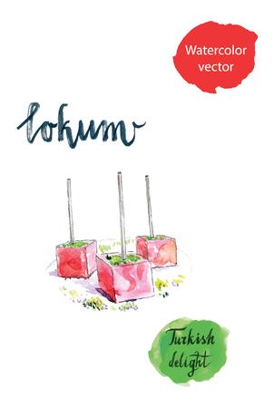 delight: Turkish sweet delight, locum, watercolor, hand drawn Illustration