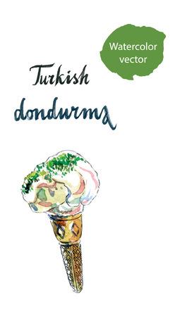 turkish dessert: Turkish dondurma, in English means Turkish ice cream, watercolor, hand drawn Illustration