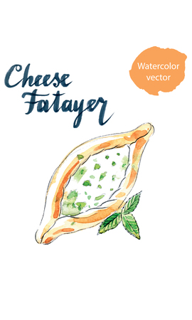 middle eastern food: Cheese pastry fatayer jebneh, arabic pastries, hand drawn, watercolor Illustration