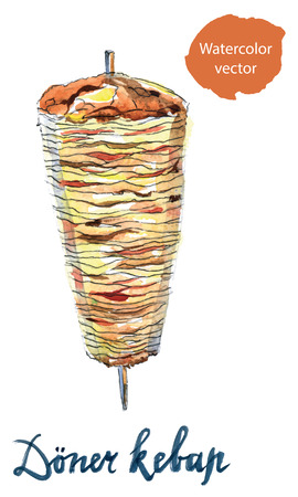 bread roll: Doner kebap or shawarma means Meat in pita bread, roll with meat, hand drawn,  watercolor Illustration