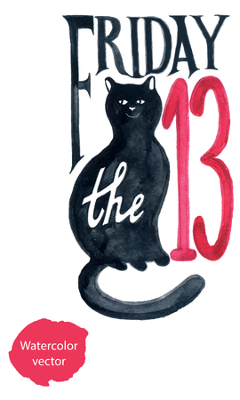Friday thirteenth grunge illustration with numerals and black cat, hand drawn, watercolor - vector Illustration