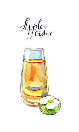 cider: Apple cider in glass and green apple, hand drawn, watercolor - Illustration