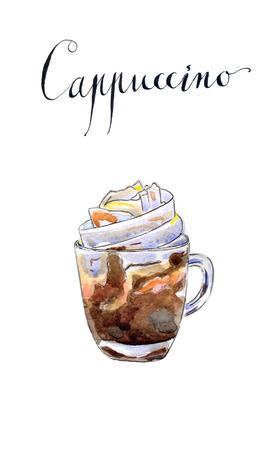 cappuccino cup: Coffee cappuccino, hand drawn, watercolor - Illustration