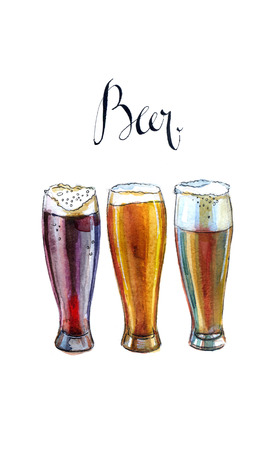 beers: Three glasses with different beers, hand drawn, watercolor - Illustration Stock Photo