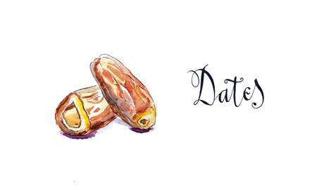 Pyszne daty suszone owoce, ręcznie rysowane, akwarela - Ilustracja