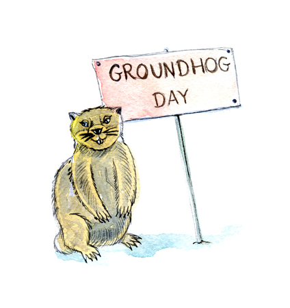 prairie dog: Happy Groundhog Day, hand drawn, watercolor - Ilustration