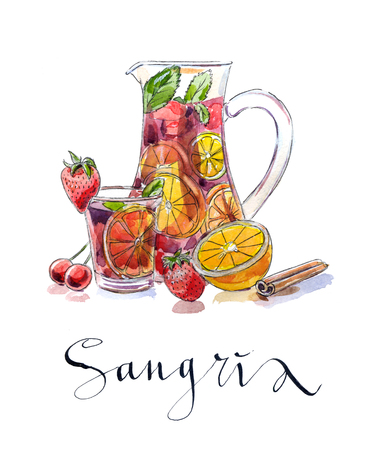 Refreshing sangria (punch), beverage in pitcher and glass with fruits: strawberries, cherries, oranges and lemon, hand drawn, watercolor - Illustration Stock Photo