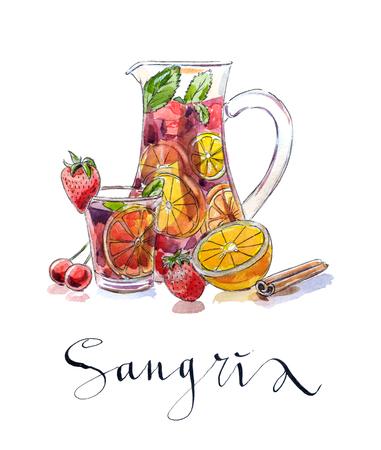 Verfrissende sangria (punch), Drinken in werper en glas met fruit: aardbeien, kersen, sinaasappels en citroen, getrokken hand, aquarel - Illustratie