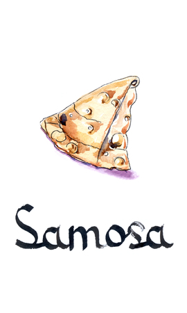puff pastry: Samosa, puff pastry, hand drawn, watercolor - Illustration Stock Photo