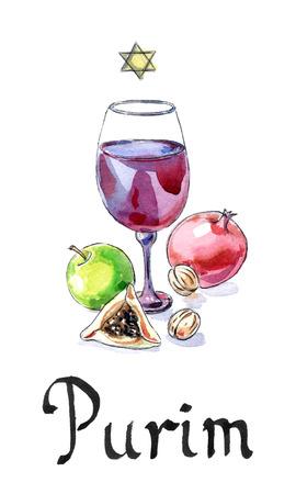 jewish: Purim celebration, symbols of Jewish holiday, hand drawn, watercolor - Illustration