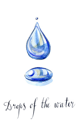 drinkable: Water droplet, hand drawn, watercolor - Illustration Stock Photo