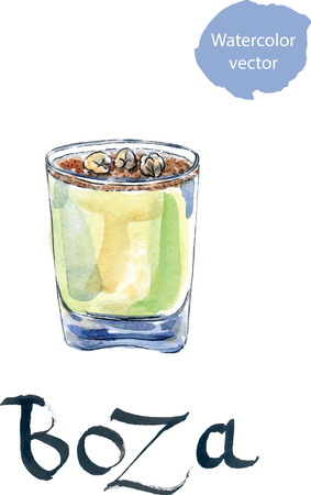 millet: Traditional turkish drink called Boza or Bosa, hand drawn, watercolor - vector Illustration