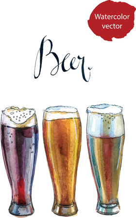 beers: Three glasses with different beers, hand drawn, watercolor - vector Illustration Stock Photo