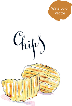 crisp: Pile of wavy potato chips salted snack, hand drawn, watercolor - vector Illustration Stock Photo