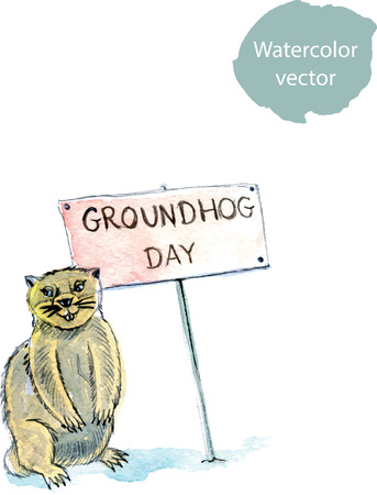 prairie dog: Happy Groundhog Day, hand drawn, watercolor - vector Ilustration