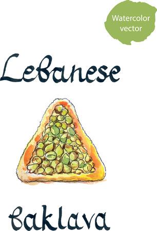 middle eastern food: Lebanese triangular baklava, hand drawn, watercolor - vector Illustration Stock Photo