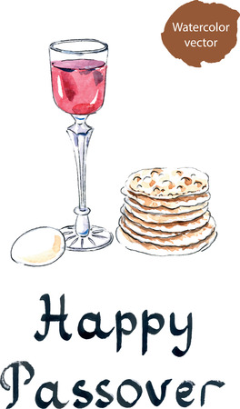 pesah: Matza bread for passover celebration, still-life with wine and matza, hand drawn, watercolor - vector Illustration