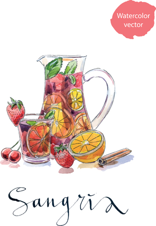 sangria: Refreshing sangria (punch), beverage in pitcher and glass with fruits: strawberries, cherries, oranges and lemon, hand drawn, watercolor - vector Illustration