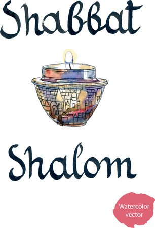 saturday night: Shabbat Shalom, hand drawn, watercolor - vector Illustration
