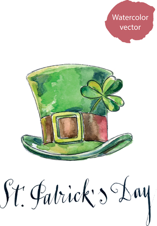 leprechaun hat: Saint Patricks Day background with clove leaf and green hat, hand drawn, watercolor - vector Illustration
