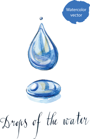 Water droplet, hand drawn, watercolor - vector Illustration