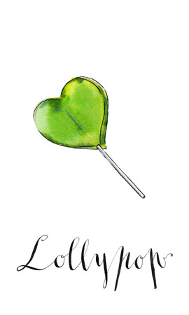 lollypop: Colorful lollypop. Green heart. Candy. Love concept. Sweet love, fun, Valentines day, watercolor, hand drawn - Illustration