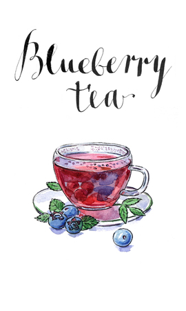 whortleberry: Blueberry antioxidant organic cup of tea with blueberries and leaves, watercolor, hand drawn - Illustration