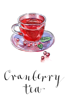 Hot winter drink with cranberries, watercolor, hand drawn - Illustration Imagens