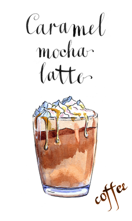 caramel sauce: Glass of caramel latte coffee with whipped cream, watercolor, hand drawn - Illustration Stock Photo