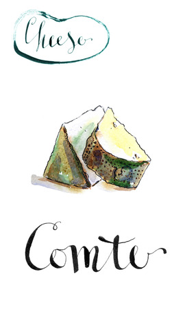 portion: Portion of Comte fort Cheese, Traditional French cheese, watercolor, hand drawn - Illustration Stock Photo