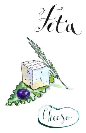 Delicious gesneden Griekse feta kaas met olijven, rozemarijn en salade, aquarel, met de hand getekend - Illustratie