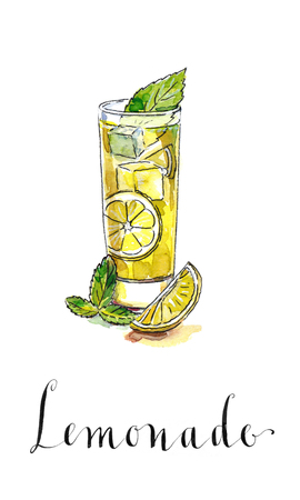 squeezed: Glass of lemonade or lemon juice with ice cubes and sliced lemon, watercolor, hand drawn - Illustration Stock Photo