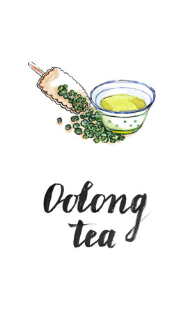 oolong: Dry Chinese oolong tea leaf and oolong tea in traditional cup and wooden bamboo scoop, watercolor, hand drawn - Illustration