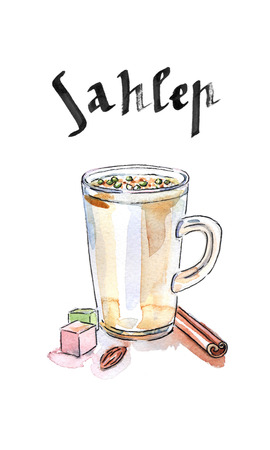 shredding: Sahlab Salep hot drink, watercolor, hand drawn - Illustration Stock Photo
