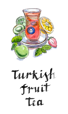 balm: Turkish fruit tea in traditional glass cup with fresh fruit and lemon balm, watercolor, hand drawn - Illustration