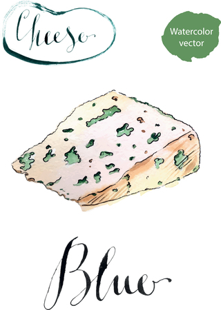 veined: Tasty blue cheese, watercolor, hand drawn