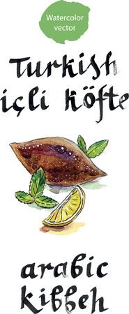 fried food: Dish Kibbeh - traditional Arabian meatballs, minced meat and Bulgur or rice.