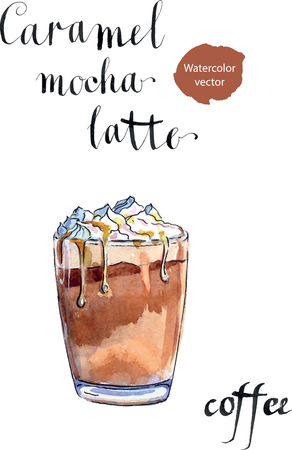 Glass of caramel latte coffee with whipped cream, watercolor, hand drawn