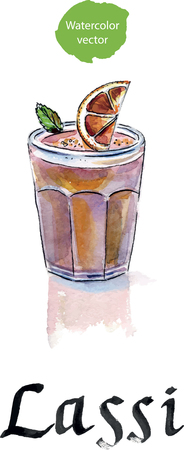lassie: Lassi is a sweet Indian drink, consisting of beaten yogurt. This is lassi with red orange. Watercolor, hand drawn - Illustration