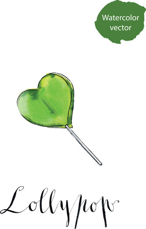 lollypop: Colorful lollipop. Green heart. Candy. Love concept. Sweet love, fun, Valentines day, watercolor, hand drawn.