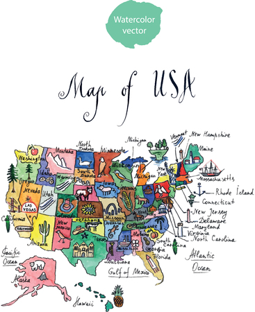 oklahoma city: Map of attractions of United States of America, watercolor, hand drawn Illustration Stock Photo