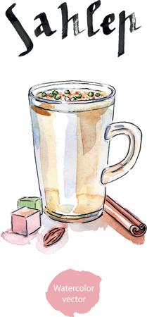 turkish dessert: hot drink, watercolor, hand drawn Illustration Stock Photo