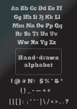numbers: Chalkboard alphabet with numbers Stock Photo