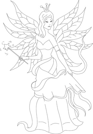 fairy wand: Coloring book for adult and older children. Coloring page with fairy and magic wand. Outline hand drawn