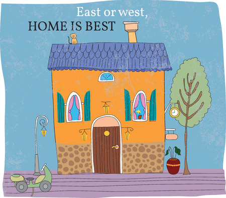 icon idea idiom illustration: East of west, home is best. Colored house, hand drawn Stock Photo
