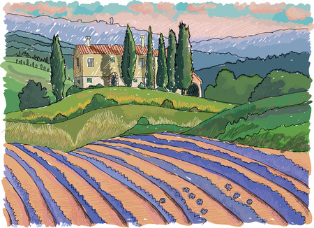 vineyard sunset: Tuscany landscape, hills, house and cypress, hand drawn