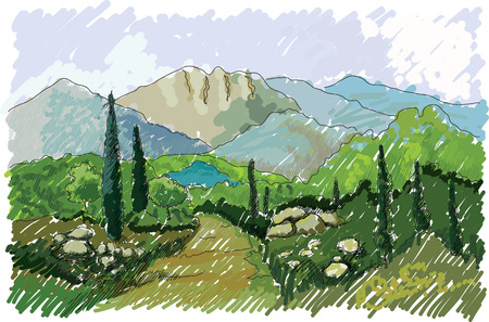 vineyard sunset: Mountains and hills, Italy, hand drawn Stock Photo