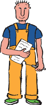 t shirt blue: Cartoon construction worker with a screwdriver and a paper, hand drawn Stock Photo