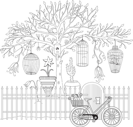 cage birds: Coloring book for adult and older children. Coloring page with decorative vintage flowers, tree and cages. Outline hand drawn